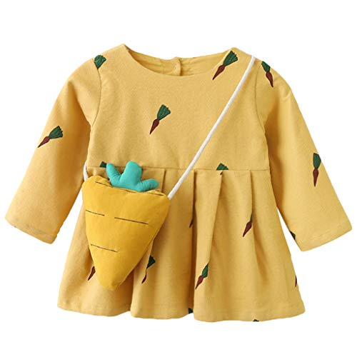 Livoral Baby Madchen Strampler Baby Langarm Karotten Print Prinzessin Kleid Kleidung(Gelb,9)
