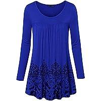 Geili Damen Bluse Frauen Langarm O-Ausschnitt Blumen Muster Falten Shirt Vintage Hemdbluse Tunika Herbst Frühling... preisvergleich bei billige-tabletten.eu