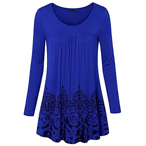 Cooljun Damen Pullover Langarm Scoop Neck Lässige Tunika Vintage Floral Bottom Plissee Shirts Winter Elegante Warm Sweatshirt Elegante Scoop Neck