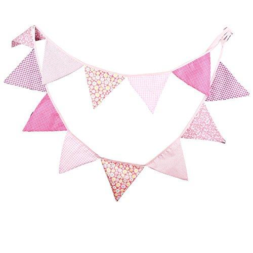 Lumanuby 12 Stück Wimple, Baumwolle Party Flagge, Bunte Banner für Feier, Gesamtlänge: 3.2m, Nice Party Zubehör, Rosa Farbe (12 Stück Baumwolle Bath)