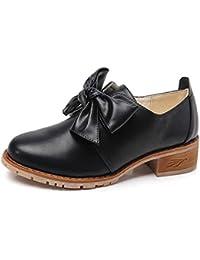 Tenthree Zapatos Mujer Mocasines - Chicas Mocasín Pisos Cuero Oxfords Acento irlandés Confortable Oficina Tacon bajo