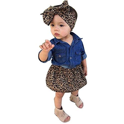 ARAUS Baby Mädchen Outfits Jeansjacke + Rock + Stirband Leopard Kleidung Set 0-5 Jahre - Leopard 4