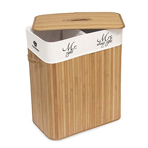 Klarabella 100 l cesto portabiancheria pieghevole in bambù con manici, coperchio e sacco estraibile con 2 scomparti separati mr. / mrs. 52 x 32 x 63 cm (l x p x a)