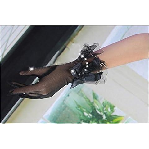 GYMNLJY Guante Novia boda vestido de encaje corto párrafo guantes blanco animoso dedo Gloves(pack of 2 double) , black