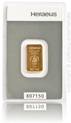 Goldbarren 5 Gramm Heraeus - Feingold 999.9 im Scheckkartenformat - LBMA zertifiziert - Anlagegold24 h 7 Tage online kaufen - Edelmetalle als Anlage und Geschenk