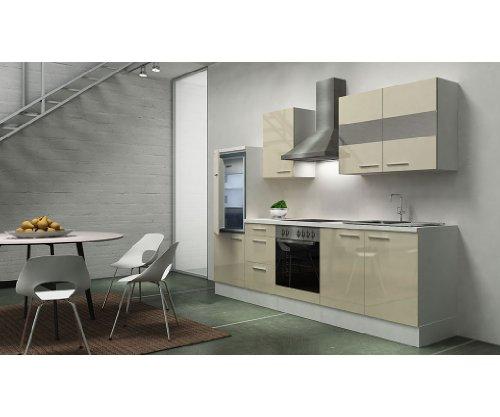 respekta Premium Instalación de Cocina Cocina 270cm Blanco Vainilla Brillo vitrocerámica recirculación