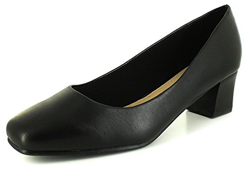 New Womens/Ladies Wide Fitting Court Shoes.(4.5Cm Heel) - Black - UK SIZE 6