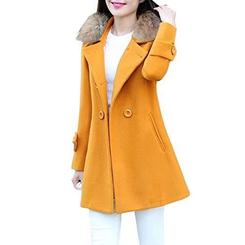 Mantel Damen Elegant Trenchcoat MYMYG Übergangsmantel Zweireihig Herbst Wollmantel Lange Ärmel Warm - Drei Musketiere Kostüm Frauen