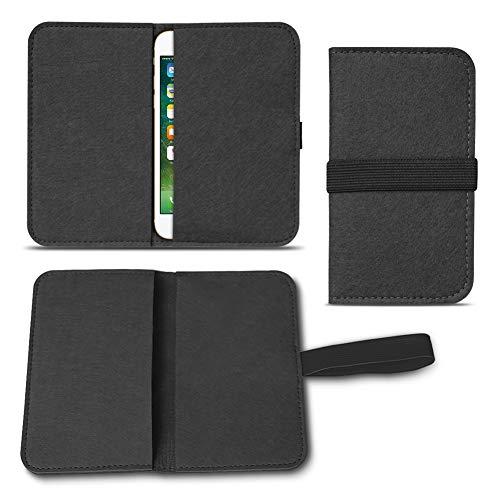 UC-Express Filz Hülle kompatibel für Apple iPhone 7/8 Plus Smartphones Cover Tasche Case Flip Filztasche mit Kartenfach mit Straffen Gummiband, Farbe:Schwarz
