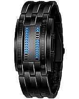 Fashion Design Staineless steel Binary Digital Watch Quartz Knight LED 30M waterproof Boys Men's Wristwatch Gift