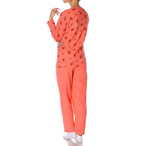 Damen Pyjama Hausanzug Schlafanzug Set Langarm 2 Tlg 21696 Rot
