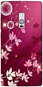 Snoogg Flower Pink Graphic Designer Protective Back Case Cover For One Plus Two