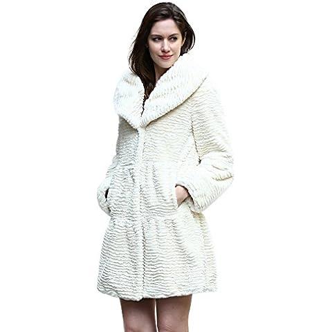 Adelaqueen Inverno Grande Risvolto Collare Femminile Persico Lamb Elegante Faux Fur Coat