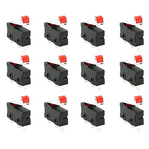 WPERSUVV Premium Mini Mikroschalter Roller Hebel Arm SPDT Endschalter Snap Aktion viel -12 Stück - Mikroschalter Snap