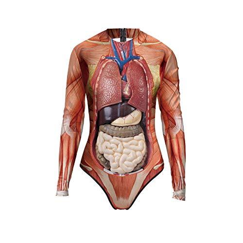Halloween-Badeanzug, sexy 3D-Halloween-Print, langärmelig, Skelett-Body, Einteiler 80x74cm Colorful Organ