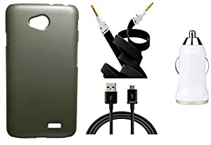 Toppings Hard Case Cover With Car Charger,Data Cable & Aux Cable For LG L70 - Golden