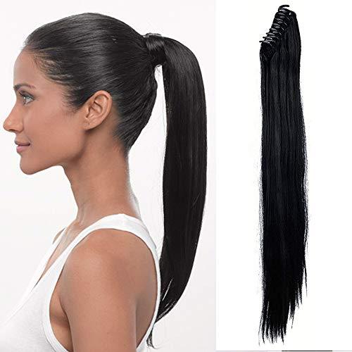 """TESS Pferdeschwanz Haarteil Ponytail Extensions Haarverlängerung Clip in Synthetik Haare für Zopf Haarteil Hair Extensions Glatt 21""""(53cm)-140g Schwarz"""