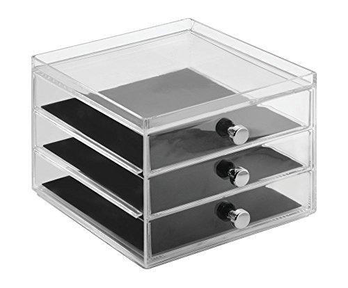 Paquete de 2 aros anteojos pulseras Caja organizadora de bijouterie; guarda anillos 3 cajones delgados gafas de sol mDesign collares Claro//negro