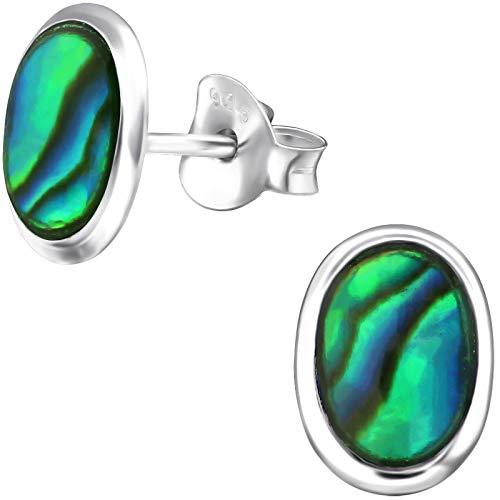 rstecker 925 Sterling Silber Abalone Paua Muschel grün 9 x 6 mm Damen-Ohrringe im Schmuck-Etui ()