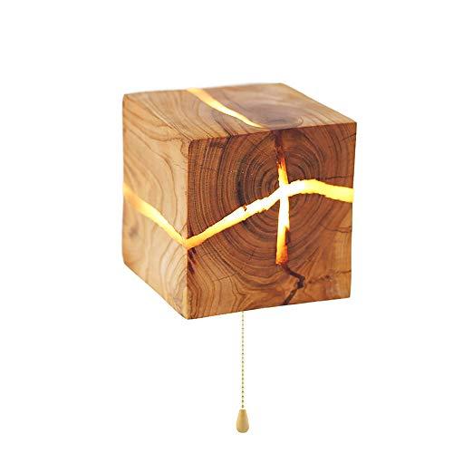 Addison 5W LED Holz Riss Wandleuchte, Klein Nachtlicht Hölzerne Kreativ Wandlampe, Schlafzimmer Nachttischlampe Gang Korridor innen Dekoration, 8×8×8CM, moderne Warmweiß mit Zugschalter (Lampe Hölzerne)