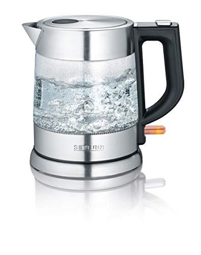 SEVERIN 3468-000 WK 3468 Glas-Wasserkocher Schwarz, Edelstahl, Transparent