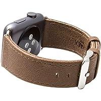 Cinturino per Apple Watch Serie 1 & 2, Ricambio del Cinturino in Vera Pelle Retro con Fibbia in Metallo della SVAEX, in 38 mm - Adattatori inclusi - Smoke Grigio