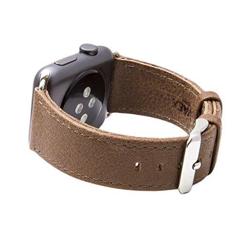 Cinturino per Apple Watch Serie 1 & 2, Ricambio del Cinturino in Vera Pelle Retro con Fibbia in Metallo della SVAEX, in 42 mm - Adattatori inclusi - Smoke Grigio