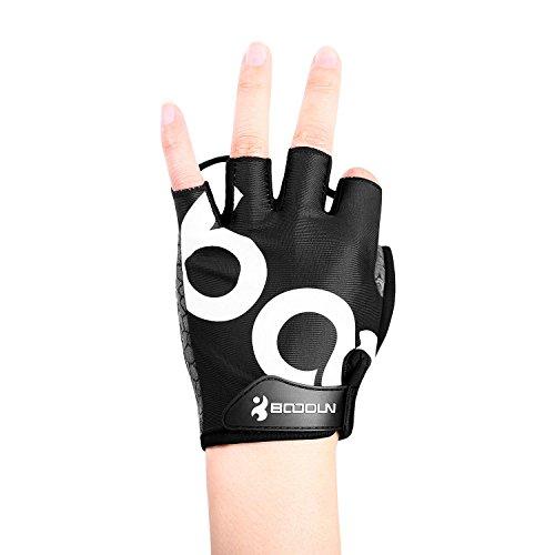 Fahrrad Handschuhe Fingerlos Schwarz Fitness SBR Gepolsterte Unisex Sport Gloves für Krafttraining Gewichtheben XXL by KONVINIT - 2