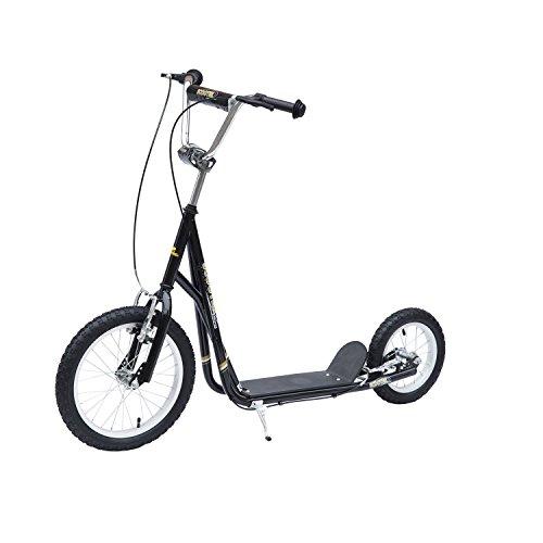 HOMCOM Kinderroller Tretroller Scooter 16/12 Zoll Cityroller Kinder Roller Bike Schwarz