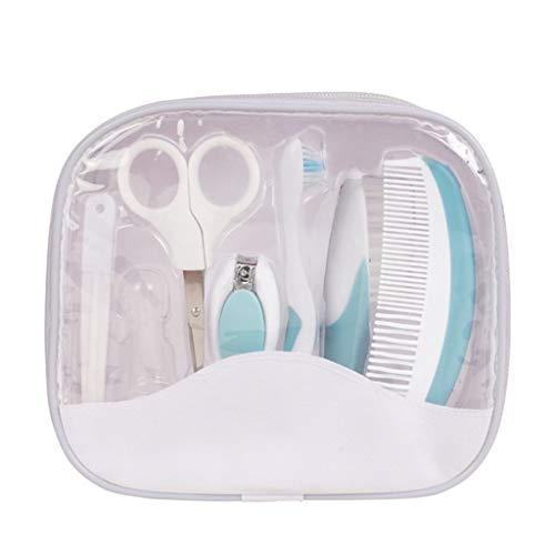 HUXINFEI Baby Pflege Set 7 Stück Nail Clipper Set tragbare 100% Sicherheit Neugeborene, Baby Pflege Kit,Blue -