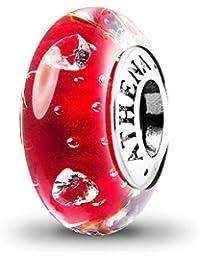 ATHENAIE Cristal de Murano 925 Núcleo de Plata Cerise Cristal Corazón Claro CZ Encantos Bead Color Rojo