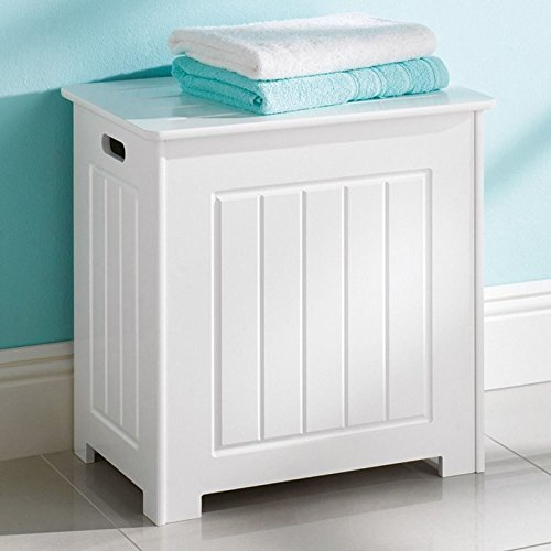 white hamper clothes storage wooden chest with lid laundry basket bathroom bin trunk. Black Bedroom Furniture Sets. Home Design Ideas