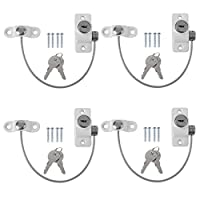 Homgrace 4pack Kids Window Restrictor Lock Child Baby Safety Door Cable Locks Security Wire Catch