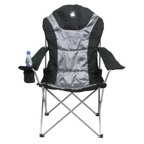 10T Lightboy - Faltbarer XXL Camping-Stuhl mobiler Hochlehner Maxi Polster-Sitzfläche Getränkehalter - 9