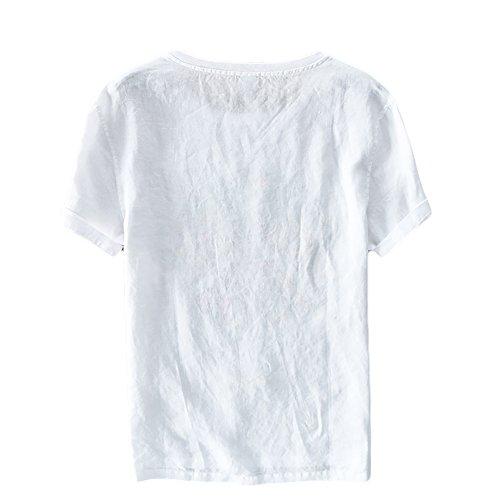 Insun Herren Leinen T-Shirts Rundhals Risse Shirts Saum Flared Sommer Hemden Tierdruck 1
