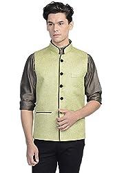 Vastraa Fusion Mens Blended Bandhgala Festive Green Nehru Jacket / Waistcoat
