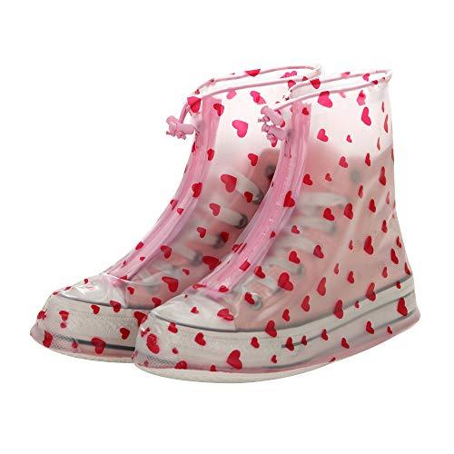 axusndas 1 Paar Mädchen Frauen Wasserdichte Wiederverwendbare Schuhüberzieher Regenschuhe mit Seilen für Radfahren, Outdoor, Camping, Angeln, Garten red Heart 34-35 Yards