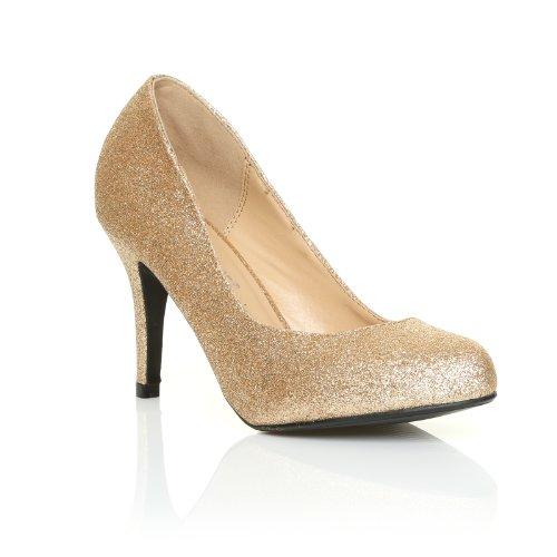 PEARL Scarpe Decolletè da Donna con Tacco a Spillo Champagne Glitter Classiche Eleganti da Ufficio Champagne Glitter