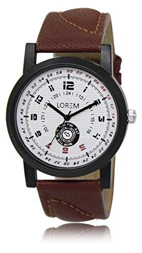 Vastrang Leather Analog White Dial Men's Watch(LR11_Brown_Boys)