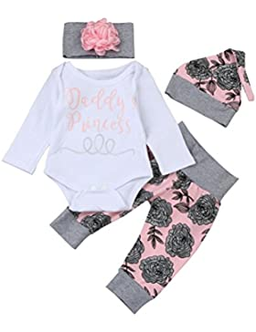 Baby Outfits, FEITONG Baby Girls Briefe Daddy's Princess Tops + Karikatur Hosen + Hut + Stirnband Outfits