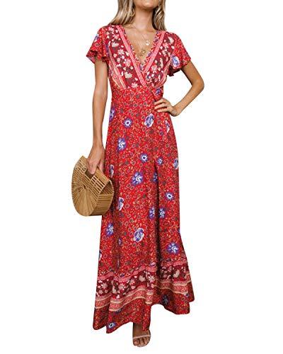 Style Dome Femme Robe de Plage Longue Maxi Florale Imprimée Bohème Grande Taille Été sans Manche Chic Col V pour Vacance
