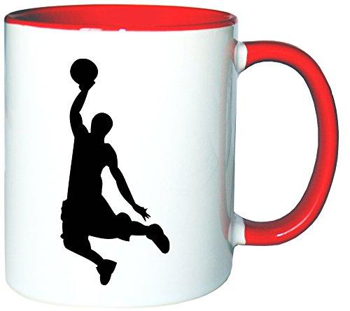 Mister Merchandise Kaffeetasse Becher Basketball Slamdunk Slam Dunk Dunking, Farbe: Weiß-Rot