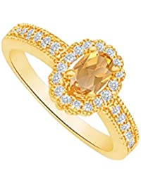 Citrine and CZ Halo Ring in 18K Yellow Gold Vermeil