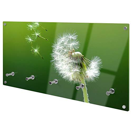 banjado Wandgarderobe aus Echtglas | Design Garderobe 80x40x6cm groß | Paneel mit 5 Haken | Flurgarderobe für Jacken und Mäntel | Garderobenleiste mit Motiv Pusteblume