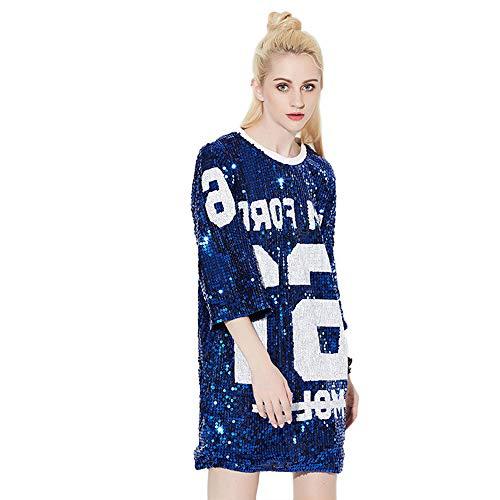 7bf1a3fde Feicuan Mini Vestido Lentejuelas para Mujer - Manga 3 4 Camisetas holgadas  Moda Tops Blusa