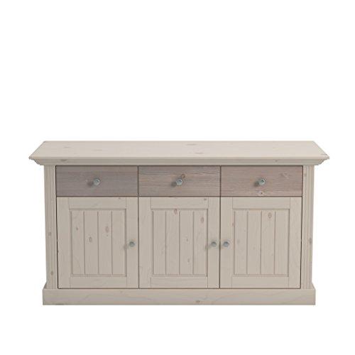 Steens Monaco Sideboard, 3 Türen, 3 Schubladen, 145 x 78 x 46 cm (B/H/T), Kiefer massiv, weiß grau
