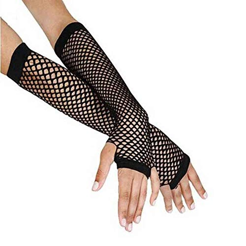 YANODA Disco Dance Kostüm Lace Fingerless Mesh Fishnet Gloves Female Black (Color : Black) (Lace Mesh Kostüm)