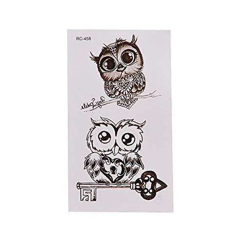 SEGRJ Wasserdichte Cartoon Owl niedliche temporäre Decal Fake Tattoo Aufkleber Body Art Dekor RC458