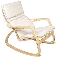 Mari Home Bradgate - Mecedora reclinable relajante (cojines de algodón lavables), color blanco