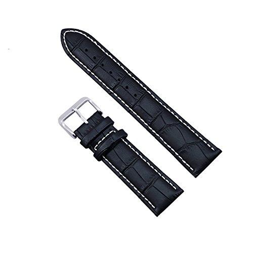 Zeiger Bracelet en Cuir 22mm Noir - Bande de bracelet montre Bracelet cuir Remplacement boucle Wrist Watch Deployante Noir - pour Montre Homme Montre Femme - Water-Resistant Resistant a l'eau Etanche
